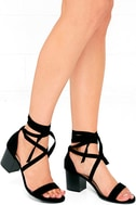 This Moment Black Suede Lace-Up Heels 1