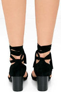 This Moment Black Suede Lace-Up Heels 4