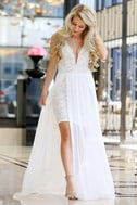 Make Way for Wonderful Off White Lace Maxi Dress 8