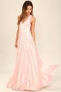Epic Night Blush Pink Satin Maxi Dress 2