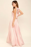 Epic Night Blush Pink Satin Maxi Dress 3