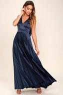Epic Night Navy Blue Satin Maxi Dress 1