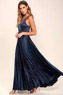 Epic Night Navy Blue Satin Maxi Dress 2