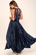 Epic Night Navy Blue Satin Maxi Dress 3