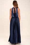 Epic Night Navy Blue Satin Maxi Dress 4