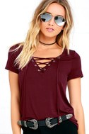 Enjoy the Ride Wine Red Lace-Up Top 1