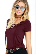 Enjoy the Ride Wine Red Lace-Up Top 3