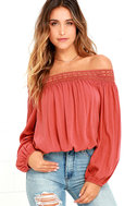 Festival Day Terra Cotta Lace Off-the-Shoulder Crop Top 1