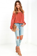 Festival Day Terra Cotta Lace Off-the-Shoulder Crop Top 2