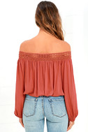 Festival Day Terra Cotta Lace Off-the-Shoulder Crop Top 4