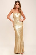 Majestic Muse Gold Strapless Sequin Maxi Dress 1