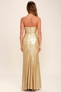Majestic Muse Gold Strapless Sequin Maxi Dress 4