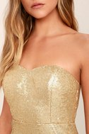 Majestic Muse Gold Strapless Sequin Maxi Dress 5