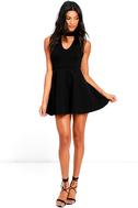 Chic Black Dress Skater Dress Lbd Mock Neck Dress