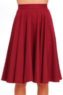 Dance Montage Wine Red Midi Skirt 4