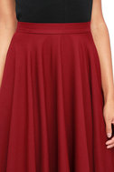 Dance Montage Wine Red Midi Skirt 5