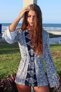 Many Moons Ivory and Navy Blue Floral Print Romper 10
