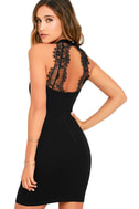 Endlessly Alluring Black Lace Bodycon Dress 1