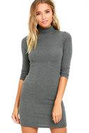 Phenomenal Feeling Grey Long Sleeve Bodycon Dress 1