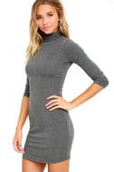 Phenomenal Feeling Grey Long Sleeve Bodycon Dress 3