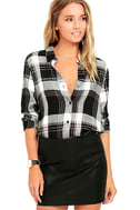 Plaid With My Heart Black and White Plaid Button-Up Top 1