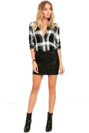 Plaid With My Heart Black and White Plaid Button-Up Top 2