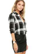 Plaid With My Heart Black and White Plaid Button-Up Top 3