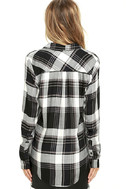 Plaid With My Heart Black and White Plaid Button-Up Top 4