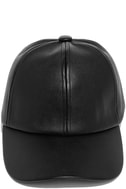 Perfect Weekend Black Vegan Leather Baseball Cap 3