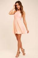 Forevermore Peach Skater Dress 2