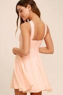 Forevermore Peach Skater Dress 3