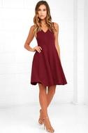 Hello World Wine Red Midi Dress 2