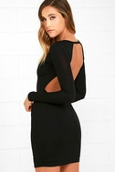 Here to Party Black Long Sleeve Bodycon Dress 1