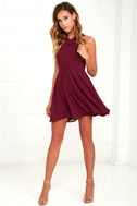 Forevermore Burgundy Skater Dress 2