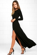 Swept Away Black Long Sleeve Maxi Dress 2