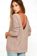 Just For You Light Brown Backless Sweater 1