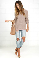 Just For You Light Brown Backless Sweater 2
