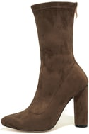 Unbelievably Chic Taupe Suede High Heel Mid-Calf Boots 2