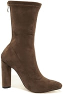 Unbelievably Chic Taupe Suede High Heel Mid-Calf Boots 4
