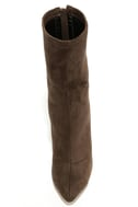 Unbelievably Chic Taupe Suede High Heel Mid-Calf Boots 5