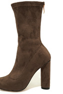 Unbelievably Chic Taupe Suede High Heel Mid-Calf Boots 6