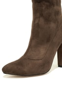 Unbelievably Chic Taupe Suede High Heel Mid-Calf Boots 7