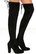 So Much Yes Black Suede Over the Knee Boots 3