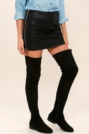 LFL Rank Black Suede Thigh High Boots 1