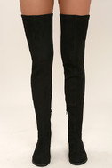 LFL Rank Black Suede Thigh High Boots 2