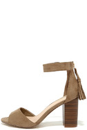 Zoey Taupe Suede Ankle Strap Heels 2
