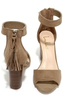 Zoey Taupe Suede Ankle Strap Heels 3