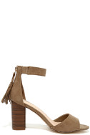 Zoey Taupe Suede Ankle Strap Heels 4