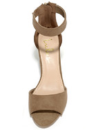 Zoey Taupe Suede Ankle Strap Heels 5