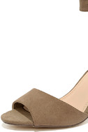 Zoey Taupe Suede Ankle Strap Heels 6